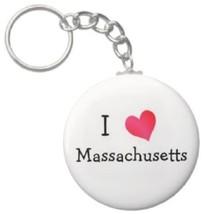 2.25 Inch I Love Massachusetts State Button Keychain (KC0254) - $3.25