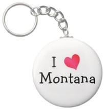 2.25 Inch I Love Montana State Button Keychain (KC0256) - $3.25