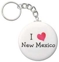 2.25 Inch I Love New Mexico State Button Keychain (KC0191) - $3.25