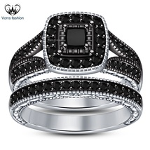 White Gold Plated 925 Silver Bridal Engagement Ring Set In Princess Cut Black CZ - $89.99