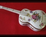 MUSIC BOX-White Porcelain GUITAR with Flowers, Handpainted Accents and Gold Trim