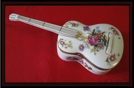 MUSIC BOX-White Porcelain GUITAR with Flowers, Handpainted Accents and G... - $49.00