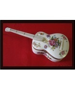 MUSIC BOX-White Porcelain GUITAR with Flowers, Handpainted Accents and Gold Trim - $60.00