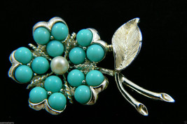VINTAGE SARAH COVENTRY COV  BLUE BEADS & PEARL FAUX BEAD FLOWER PIN BROO... - $27.72