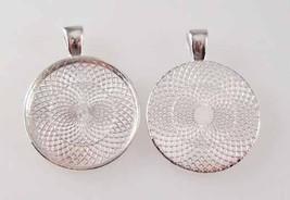 Vintage Floral Flower Glass Tile Necklace Pendant image 2
