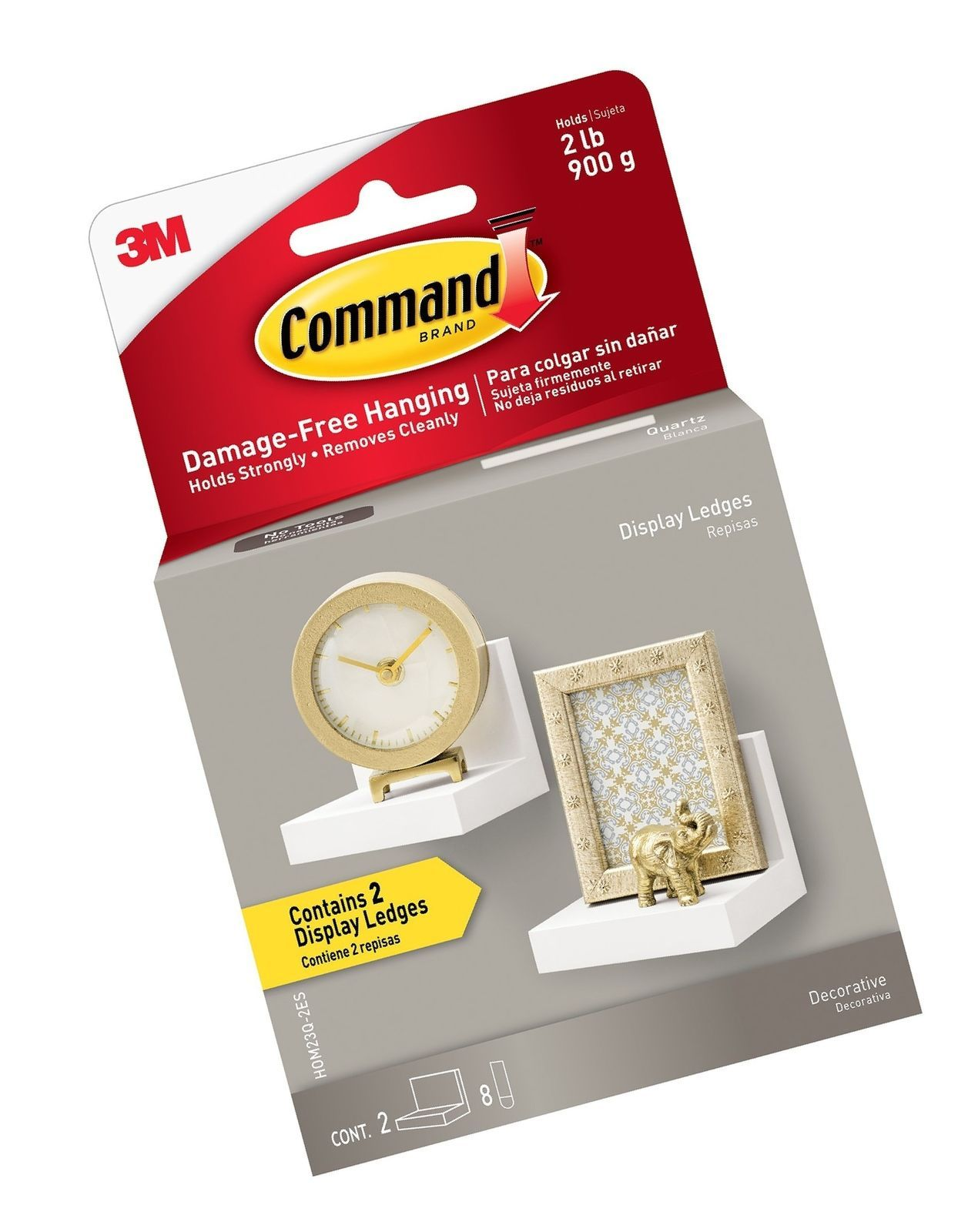 Command Display Ledges, Quartz, 2-Ledges, 8-Medium Foam Strips (HOM23Q-2ES)