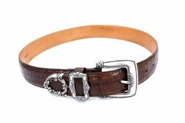 VTG BRIGHTON Alligator Croco Print Leather Belt Sculpted Silver Buckle M... - £16.42 GBP