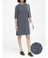 Banana Republic Navy Blue Floral 3/4 Sleeve Crew Neck Shift Dress 0P 0 2 4 6 8 - $49.99