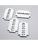2 steel metal razor blade charms pendants 20mm x 30mm silvertone lot #su... - $3.99