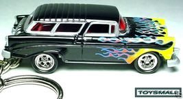 KEYCHAIN BLACK FLAMED 56/1957 CHEVY NOMAD 57 KE... - $34.95