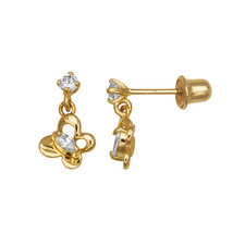 Children 14K Solid Yellow Gold Butterfly Dangle Screw Back Earrings  - $64.99