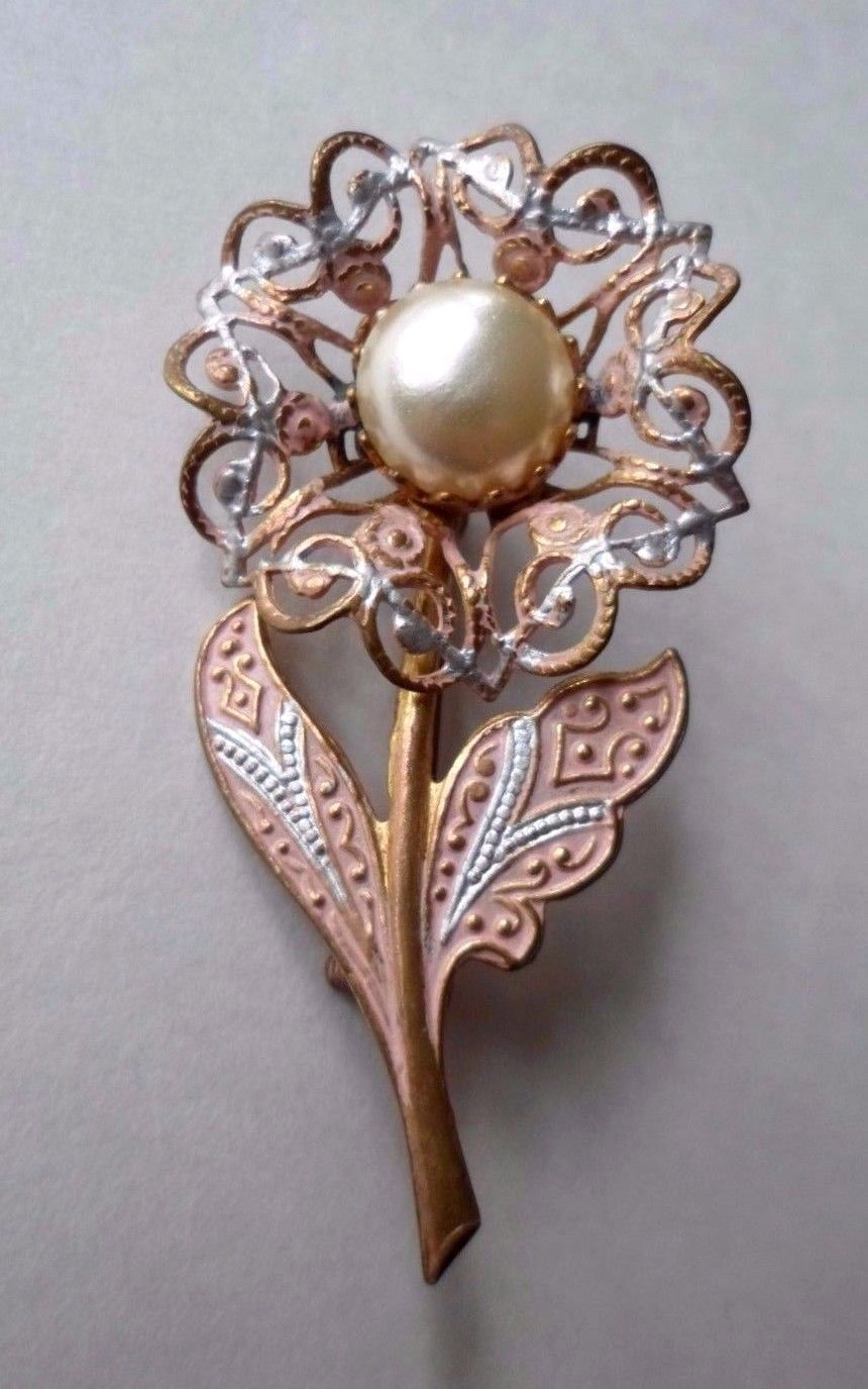 "Primary image for Vintage Damascene SIGNED  ""Spain"" Faux Pearl Flower Brooch / Pin Peach"