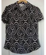ALLISON TAYLOR  short sleeve STRETCH  Button down  Top   sz M - $4.99