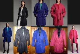 Narciso Rodriguez-Kohls DesigNation Wool Wrap Cocoon Coat-Blue Black S M-XL NEW - $59.97