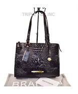 Brahmin NWT Black Melbourne Croco Emb Leather Anywhere Tote Purse L95151BK - $204.77