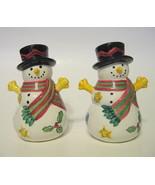 Snowman Salt & Pepper Shakers Ceramic Christmas or Winter Decor - $31.18