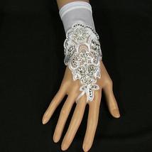 A Women Wedding Pair Wrist Gloves Bridal Flowers Rhinestone White Stretc... - $29.99