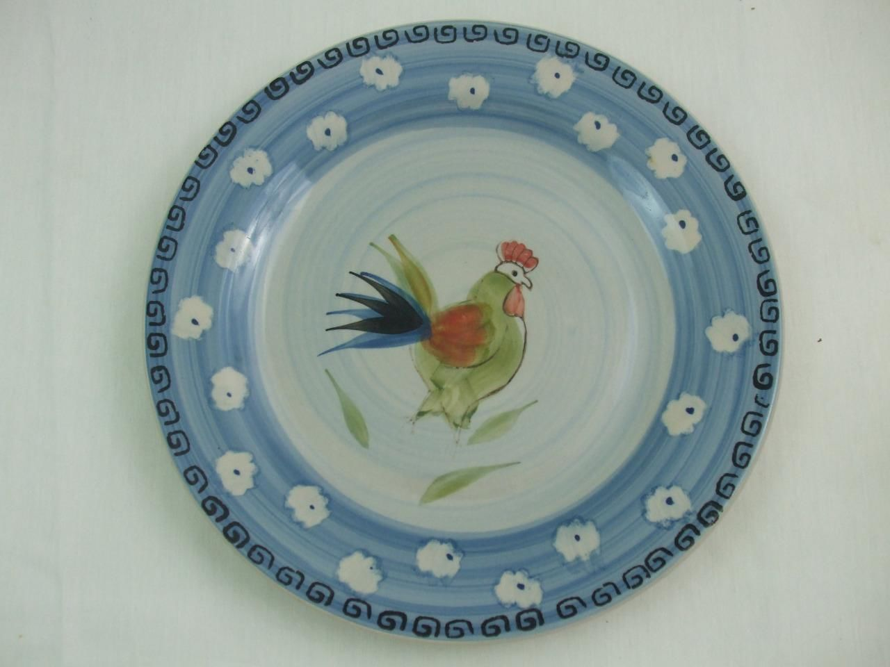 "Primary image for Royal Norfolk 10 3/4"" Dinner Plate Rooster Warm Red Green Blue"