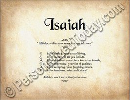 Isaiah Hidden Within Your Name Is A Special Story Letter Poem 8.5 x 11 P... - $8.95