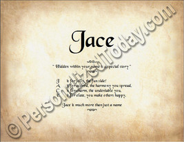 Jace Hidden Within Your Name Is A Special Story Letter Poem 8.5 x 11 Print - $8.95