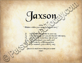 Jaxson Hidden Within Your Name Is A Special Story Letter Poem 8.5 x 11 P... - $8.95