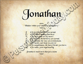 Jonathan Hidden Within Your Name Is A Special Story Letter Poem 8.5 x 11... - $8.95