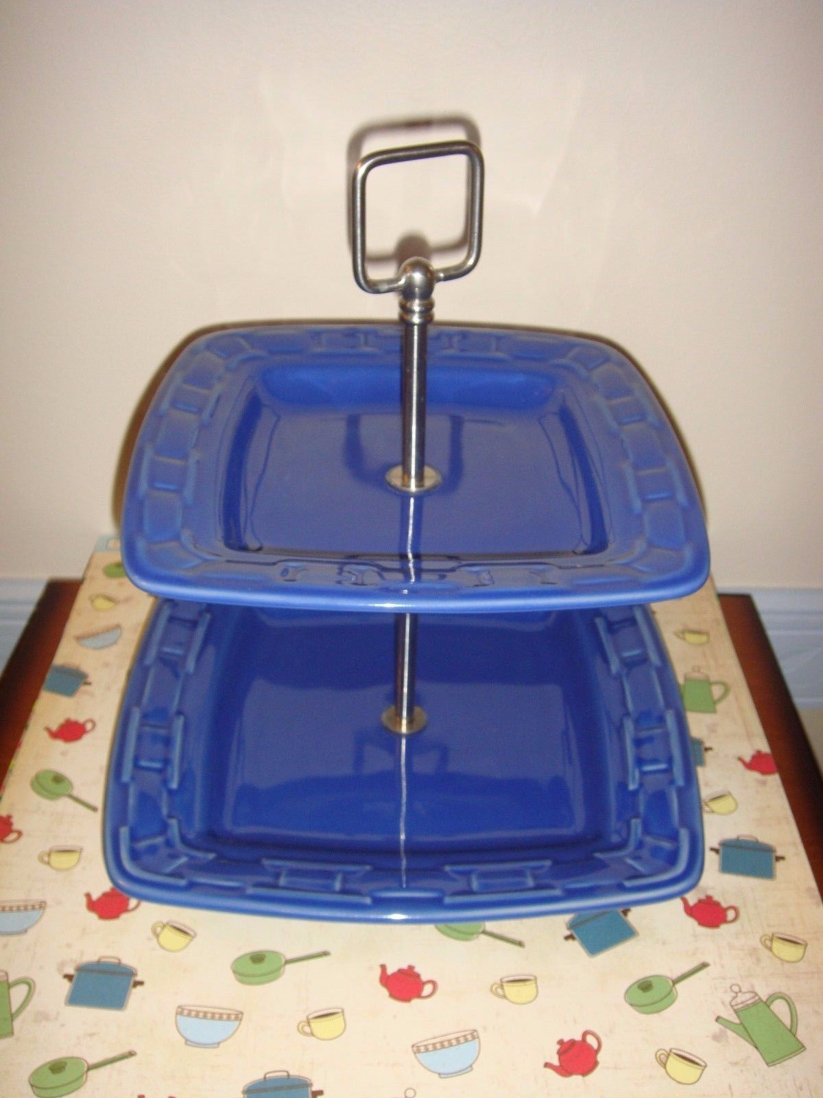 Longaberger Pottery Square Woven Tradition Two-Tier Serving Stand Cornflower - $32.99