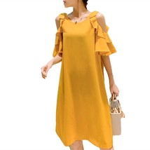 Maternity Dress Solid Color Off Shoulder Ruffled Loose Midi Dress - $31.99