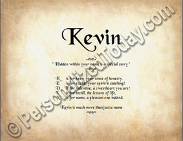 Kevin Hidden Within Your Name Is A Special Story Letter Poem 8.5 x 11 Print - $8.95