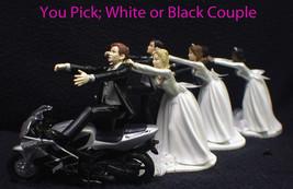 Wedding Cake Topper W/Silver Honda Motorcycle White Black Hispanic Groom... - $59.28+