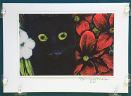 Cat Art Notecard - Black Cat with Red and White Flowers - $4.50