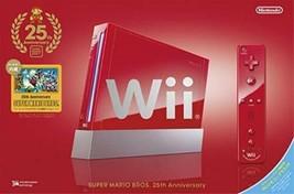 Nintendo Wii Super Mario Bros 25th Anniversary Rosso Limitata Console RV... - $337.90