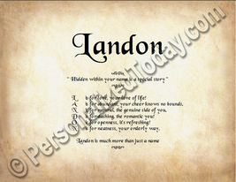 Landon Hidden Within Your Name Is A Special Story Letter Poem 8.5 x 11 P... - $8.95