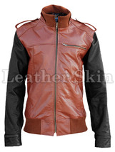 Leather Skin Mens Brown with Black Sleeves Genuine Leather Jacket - $179.99
