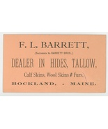 Barrett Rockland Maine antique vintage business trade card hides tallow ... - $7.00