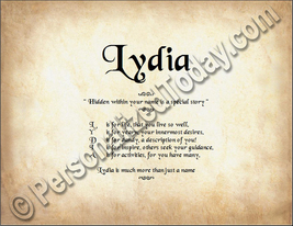 Lydia Hidden Within Your Name Is A Special Story Letter Poem 8.5 x 11 Print - $8.95
