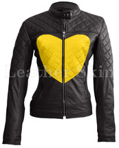 Women Love Black with Yellow Heart Shoulder Quilted Genuine Leather Jacket - $179.99