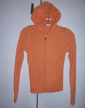 VINCE Light Orange Peach Thermal Cotton Knit Hoodie Zip Jacket Sz Small EUC - $29.65