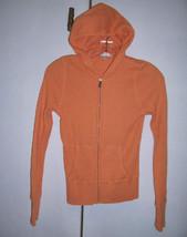 VINCE Light Orange Peach Thermal Cotton Knit Hoodie Zip Jacket Sz Small EUC - $29.65