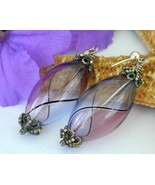 Blown glass dangle earrings purple lavender blue handmade pierced thumbtall