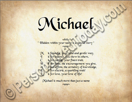 Michael Hidden Within Your Name Is A Special Story Letter Poem 8.5 x 11 ... - $8.95
