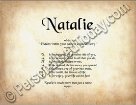 Natalie Hidden Within Your Name Is A Special Story Letter Poem 8.5 x 11 ... - $8.95