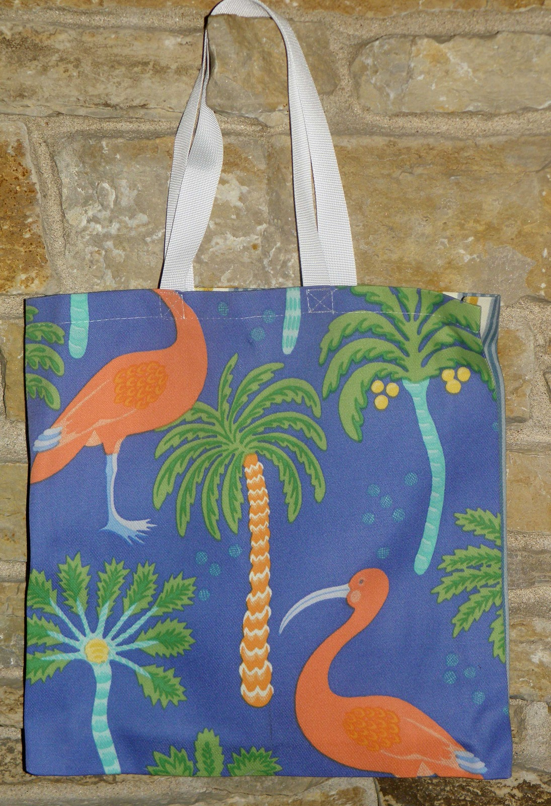 Primary image for Handmade Blue, Green, Pink Flamingo Tote Bag
