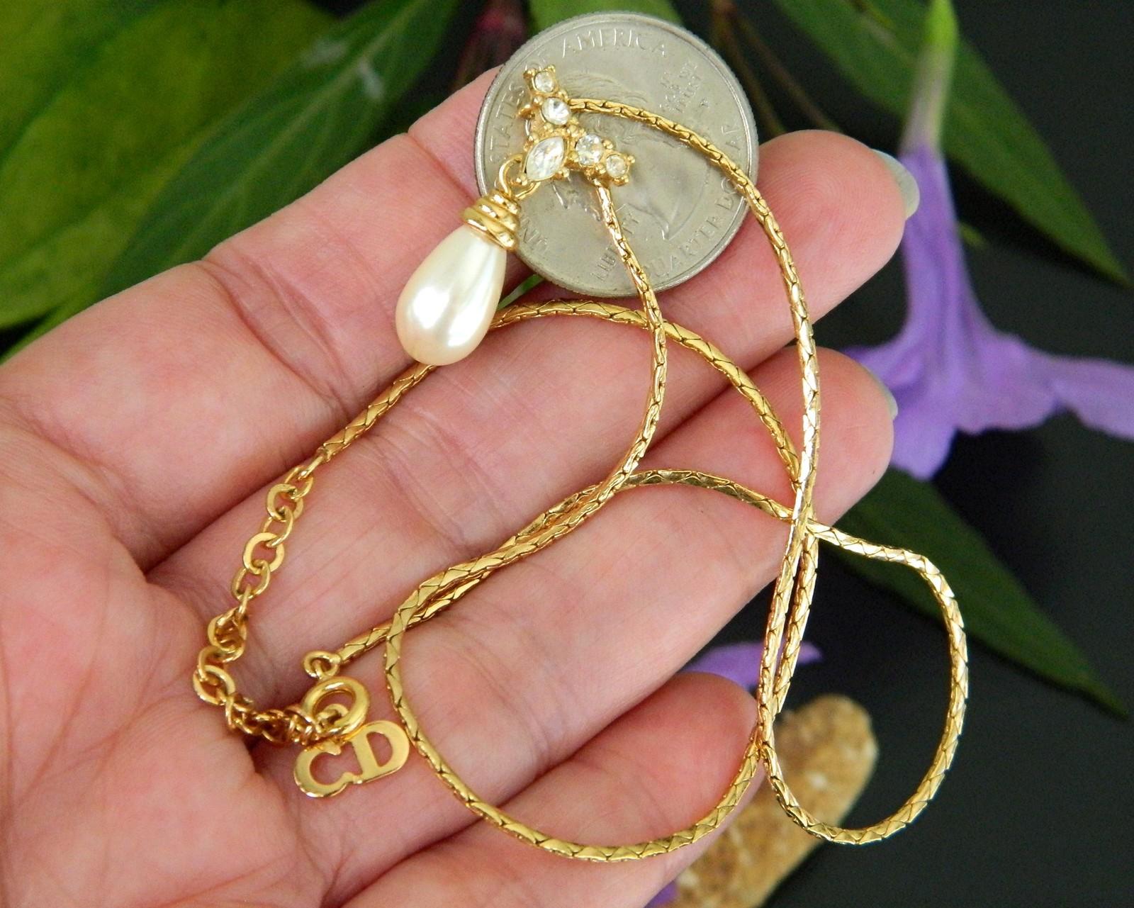 Vintage Faux Teardrop Pearl Rhinestone Bridal Necklace Goldtone Signed