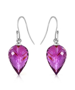 19 Ct 14k Solid White Gold Fish Hook Earrings Natural Amethyst - €187,97 EUR