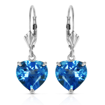 14K. Solid White Gold Leverback Earrings Natural 10mm Heart Blue Topaz - $415.18