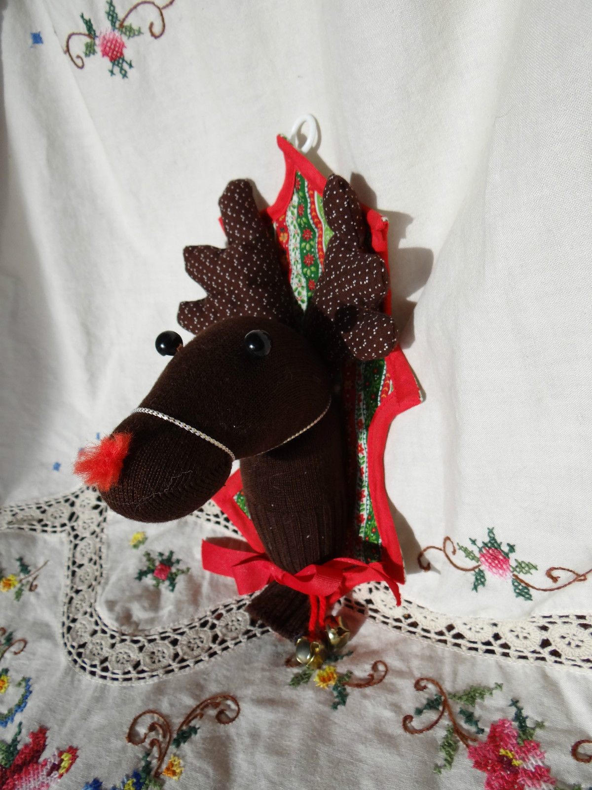 handmade brown sock reindeer christmas decoration door hanger holiday decor deer - Used Christmas Decorations For Sale
