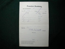 1903 Freedom Academy ME Report Card, Free Shipping - $13.09