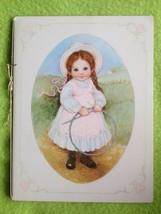 Vintage Hallmark Greeting Card Girl with bonnet & braids against farm backdrop - $5.03