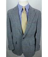 Vintage PALM BEACH Bespoke Tweed  Wool Sport Coat Blazer Jacket Glen Plaid Gray - $59.39